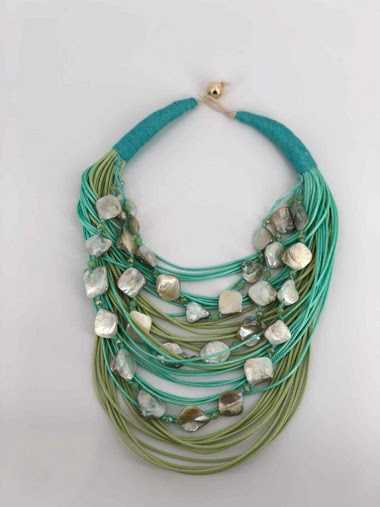 Short rope necklace with piece of nacre