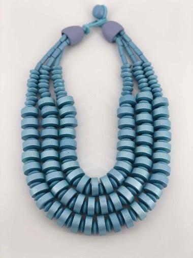 Collier court, multi chaîne de perle en bois