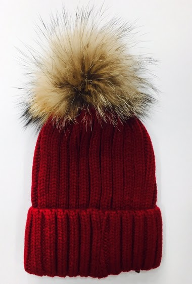 hat with true fur pompon pack of 12 mix colors