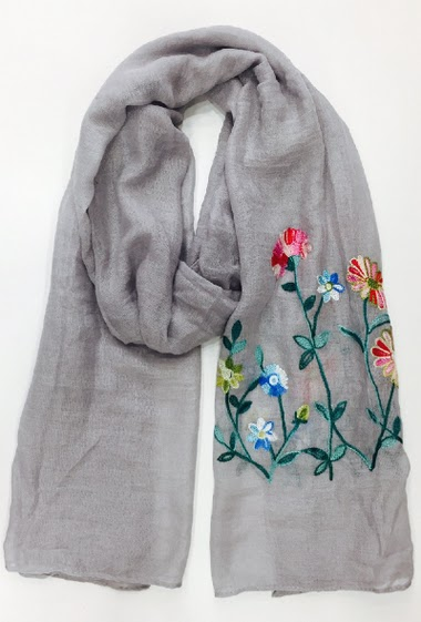 scarf with embroidery on one side 100% Viscose 60 * 180 cm Pack of 10 mix colors