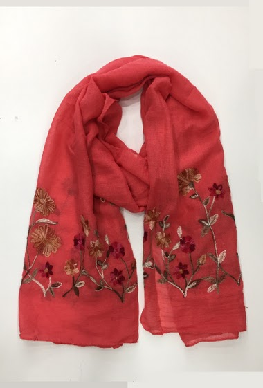 scarf with embroidery on two side 100% Viscose 60 * 180 cm Pack of 10 mix colors