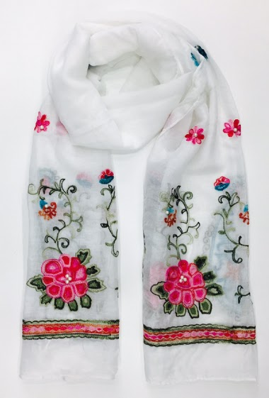 scarf with embroidery on two side +pearl 100% Viscose 60 * 180 cm Pack of 10 mix colors