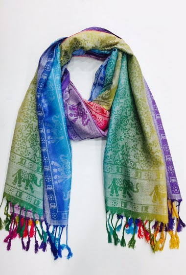 100%viscose scarf with more than 20 colors with elephant draw pack of 10 mix colors 70*180 cm