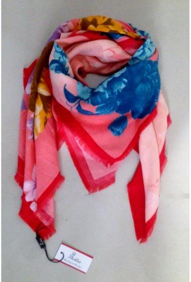 Foulard motif rose 100% Viscose Vendu par 10 couleurs assortis
