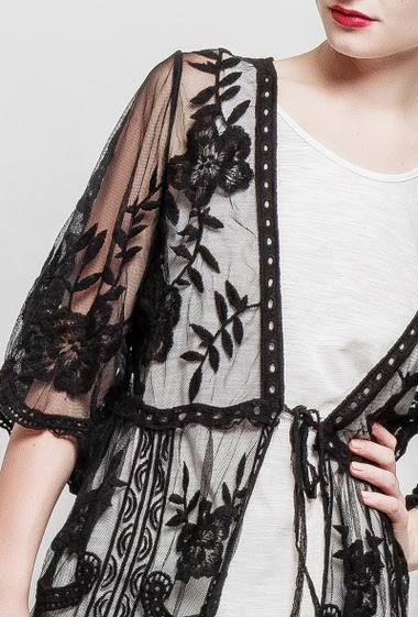 Bohemian jacket, embroidered tulle, tie closure, short sleeves, long and regular fit, transparent fabric - TU corresponds to 38-40