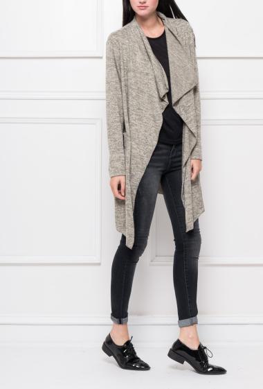 Gilet en maille douce avec col cascade, poches, coupe décontractée - Marque Italy Moda