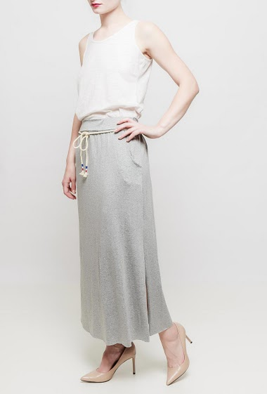 Long jersey skirt with pockets, elastic waist, cord belt - TU corresponds to 38-40