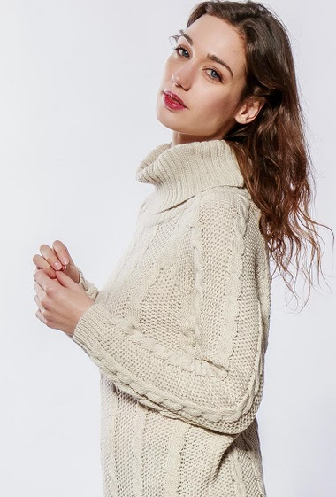 Long sweater with twisted knit, turtle neck, long sleeves, casual fit.The model measures 177cm, one size corresponds to 38-40