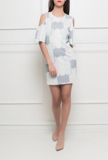 Dress with geometric pattern, short sleeves, stretch fabric - TU corresponds to 38/40