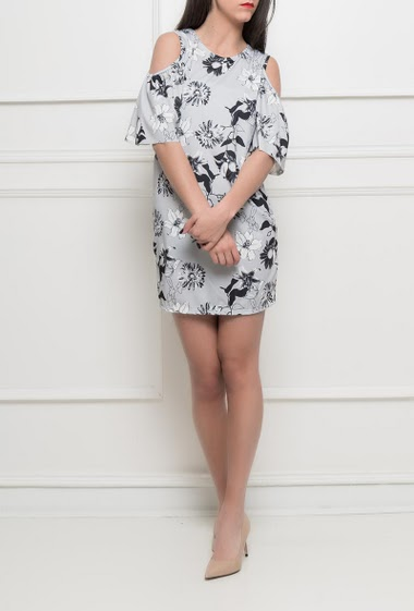 Cold shoulder dress, printed flowers, short sleeves, stretch fabric - TU corresponds to 38/40