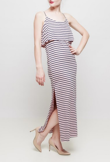 Striped frill long dress, straps, jersey fabric with bicolour stripes - TU corresponds to 38-40