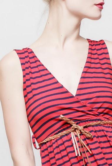 Robe longue cache-cœur rayée, ceinture tressée, col V croisé, tissu jersey à rayures bicolores - TU correspond à 38-40