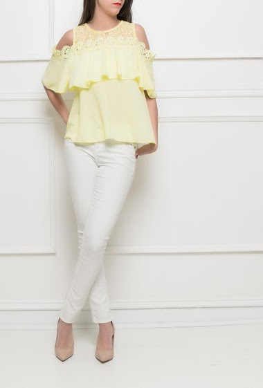 Top with lace yoke, cold shoulder design, ruffles, button keyhole back, fluid fabric - TU corresponds to 38/40