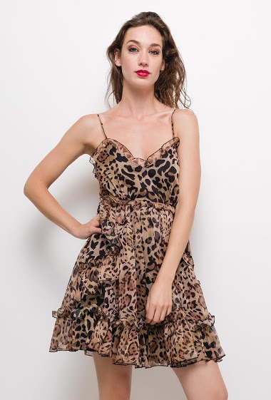 Leopard print dress with ruffles,The model measures 177cm and wears S. Length:90cm