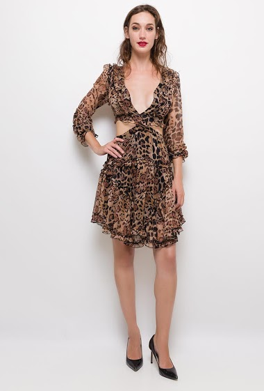 Leopard print dress with ruffles,The model measures 177cm and wears S. Length:110cm
