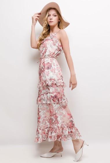 Robe de cocktail à bretelles, volants, fleurs imprimées, tissu vaporeux. La mannequin mesure 170cm et porte du S. Longueur:135cm