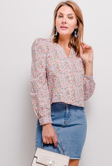Buttoned blouse, printed flowers