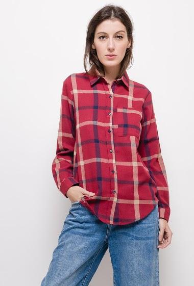 Chemise à carreaux ,La mannequin mesure 178cm et porte du S. Longueur:73cm