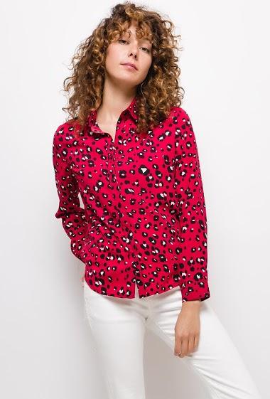 Chemise à motifs,La mannequin mesure 177cm et porte du S. Longueur:65cm
