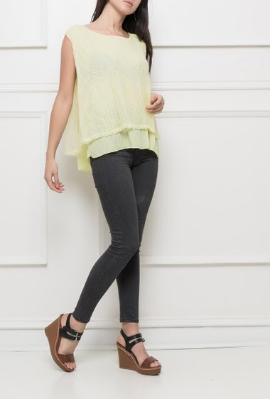 Lace tank top with pleated border, regular fit