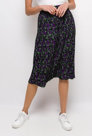 Jupe plissée à fleurs imprimées,La mannequin mesure 177cm et porte du S