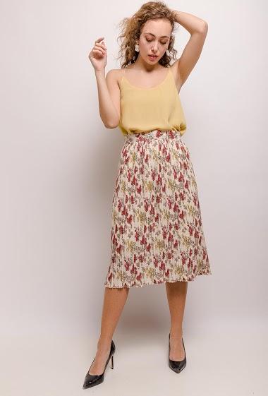 Midi skirt, printed flowers. The model measures 171cm and wears S. Length:78cm
