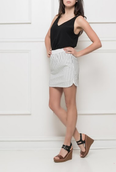 Mini skirt with stripes, elastic waist, regular fit