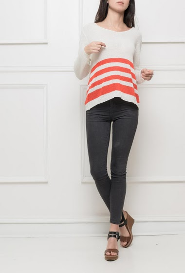 Pull with long sleeves, bicolour stripes, casual fit