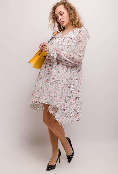 Dress with printed flowers. The model measures 171cm and wears S. Length:93cm