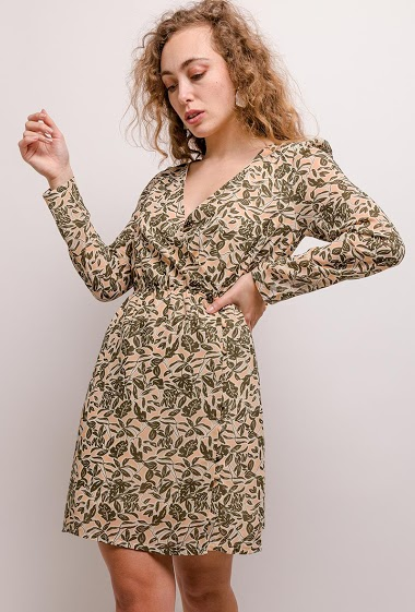 Printed wrap dress. The model measures 171cm and wears S. Length:92cm