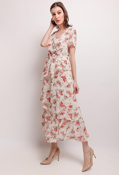 Dress with printed flowers, ruffles. The model measures 178cm and wears S. Length:130cm
