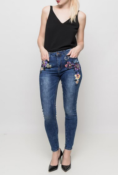 Jeans with embroidered flowers, skinny fit, high waist