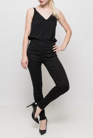 Stretch jeans, pockets, high waist, raw edges, skinny fit