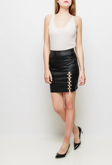 Skirt with decorative buttons, zip back closure