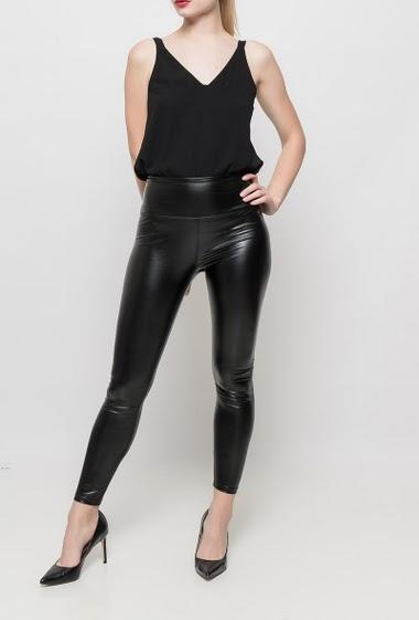 Leggings in imitation leather, fleece lining, elastic waist, hight waist, close fit, stretch fabric