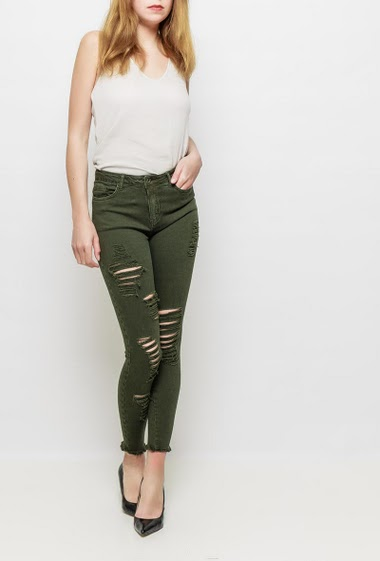 Pants with rips, raw edges, skinny fit
