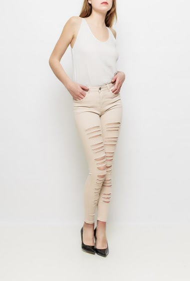 Pants with rips, skinny fit