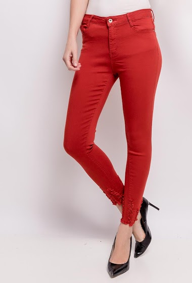 DAYSIE skinny pants with torn ankles CIFA FASHION