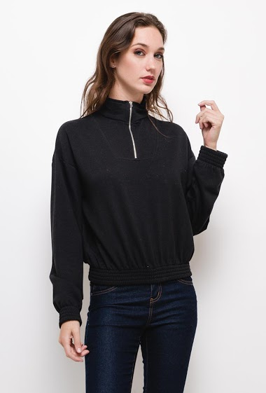 Sweatshirt with zip,The model measures 177cm and wears S/8(UK) 36(FR). Length:55cm