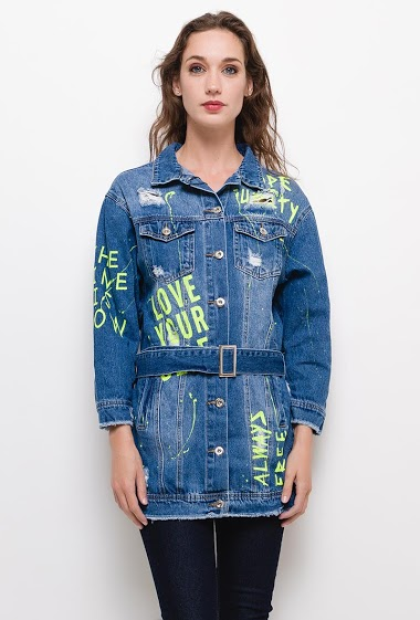 Long denim jacket ,The model measures 177cm and wears M. Length:80cm