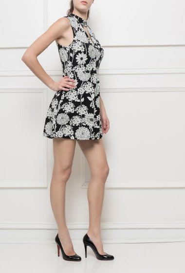 Jersey playsuit with printed flowers, fancy cutwork, fluid and very soft fabric, zip back closure