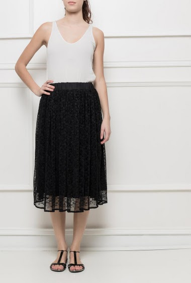 Midi skirt with plaeted floral lace, elastic waist