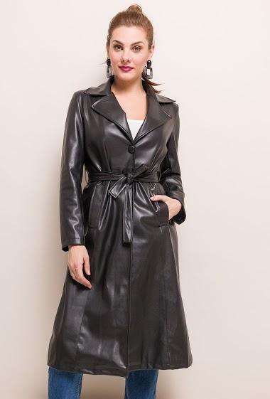 Vegan leather trench-coat