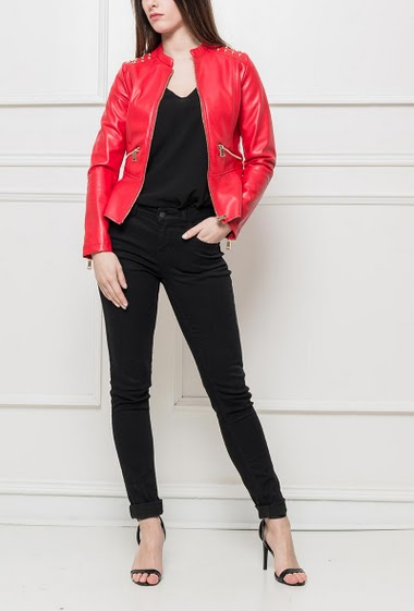 Jacket in imitation leather, zipped pockets, studs on the shoulders