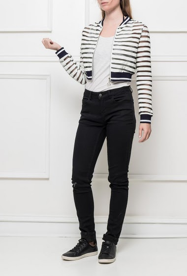 Cropped striped jacket, transparent and fake leather stripes, zip closure, embroidered back, casual fit