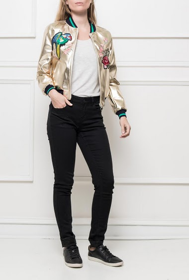 Shiny jacket decorated with embroideries, contrasting borders, baseball collar, casual fit