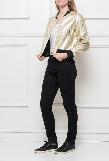 Shiny jacket, embroidered back, pockets, casual fit