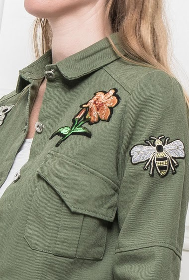 Jacket decorated with embroidered patches, classic fit