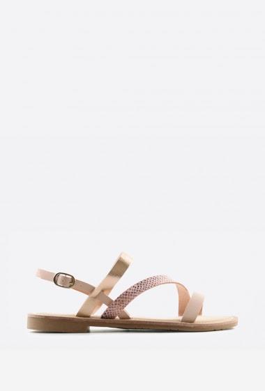 Sandales plates bi-matières | Matière(s): P.U | Semelle intérieur: P.U | Marques: Erynn | Semelle extérieur: P.U