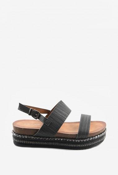 Sandales confort à semelle épaisse | Matière(s): P.U, Matière(s): Suédine | Semelle intérieur: P.U | Marques: Erynn | Semelle extérieur: P.U